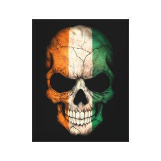 Customizable Ivory Coast Flag Skull Stretched Canvas Prints