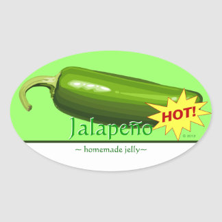 Customizable Jalapeno Pepper Oval Stickers
