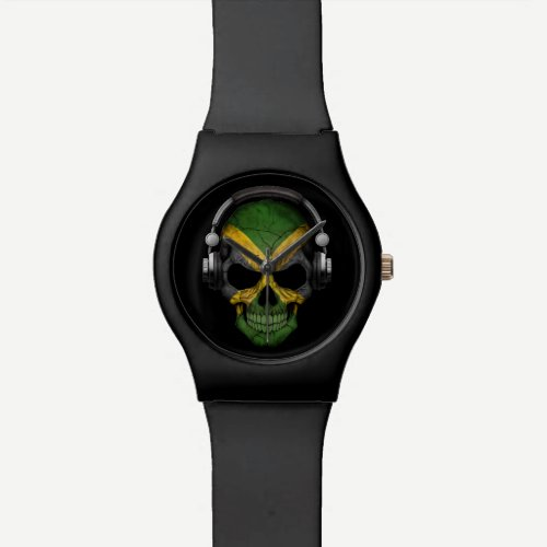 Customizable Jamaican Dj Skull with Headphones Wrist Watch