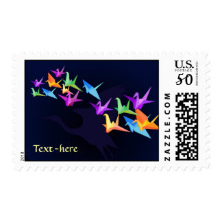 Customizable: Japanese paper cranes on blue Postage