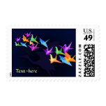 Customizable: Japanese paper cranes on blue Postage Stamp