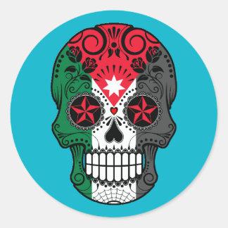 Customizable Jordanian Flag Sugar Skull with Roses Classic Round Sticker