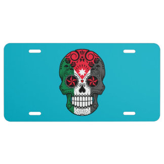 Customizable Jordanian Flag Sugar Skull with Roses License Plate