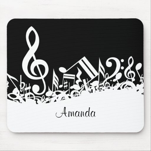 Customizable Jumbled Musical Notes Black and White Mouse Pads