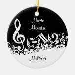 Customizable Jumbled Musical Notes Black White Ornament
