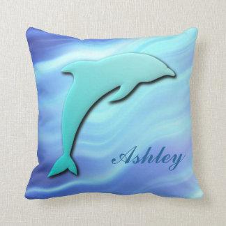 Customizable Jumping Dolphin 3D effect monogram Throw Pillow