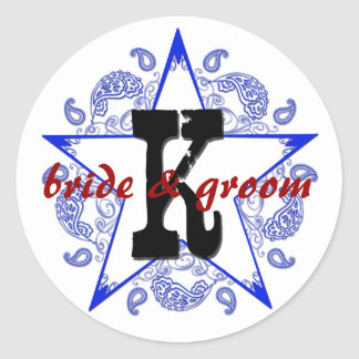 "Customizable ""K"" Western Blue Monogram Sticker"