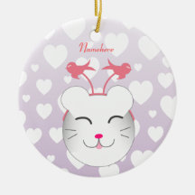 Customizable: Kawaii Alfie kitty Christmas Tree Ornaments