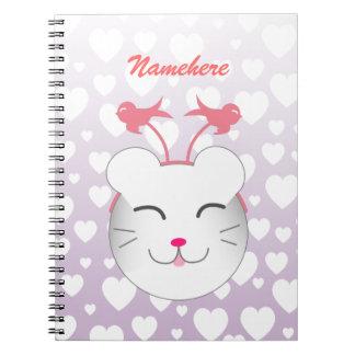 Customizable: Kawaii Alfie kitty Spiral Notebook