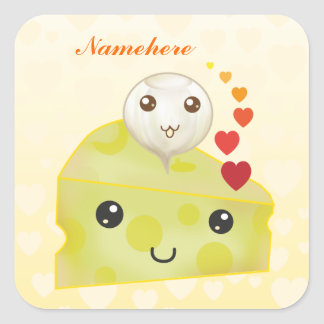 Customizable: Kawaii cheese & pickle Square Sticker