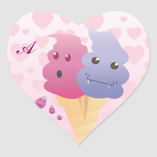 Customizable: Kawaii killer ice cream Heart Sticker