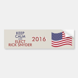 Customizable Keep Calm And Elect RICK SNYDER Bumper Sticker