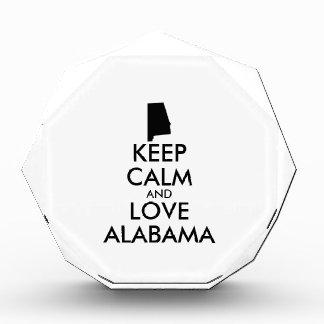 Customizable KEEP CALM and LOVE ALABAMA Acrylic Award