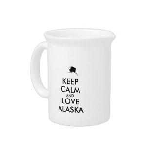 Customizable KEEP CALM and LOVE ALASKA Pitchers