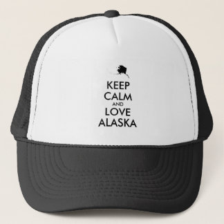 Customizable KEEP CALM and LOVE ALASKA Trucker Hat