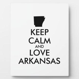 Customizable KEEP CALM and LOVE ARKANSAS Plaque