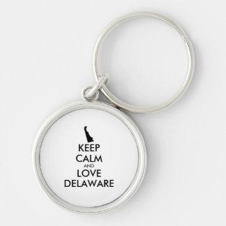 Customizable KEEP CALM and LOVE DELAWARE Keychain