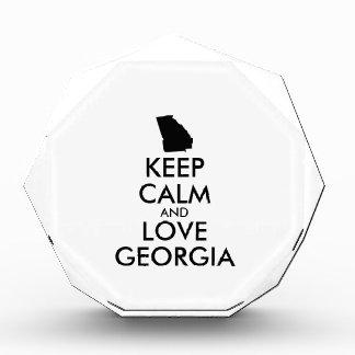 Customizable KEEP CALM and LOVE GEORGIA Acrylic Award