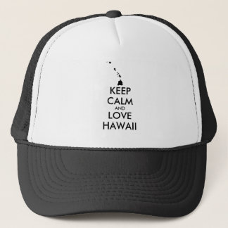Customizable KEEP CALM and LOVE HAWAII Trucker Hat