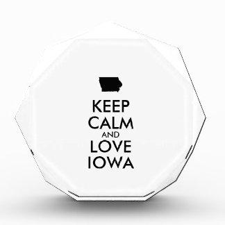 Customizable KEEP CALM and LOVE IOWA Acrylic Award