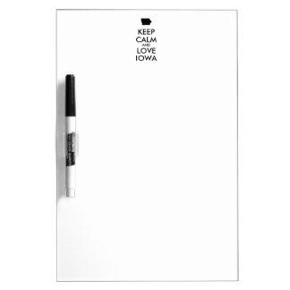 Customizable KEEP CALM and LOVE IOWA Dry-Erase Board