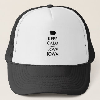 Customizable KEEP CALM and LOVE IOWA Trucker Hat
