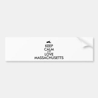 Customizable KEEP CALM and LOVE MASSACHUSETTS Car Bumper Sticker