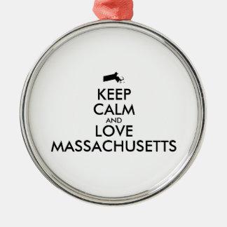 Customizable KEEP CALM and LOVE MASSACHUSETTS Metal Ornament