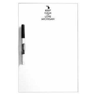 Customizable KEEP CALM and LOVE MICHIGAN Dry Erase Board