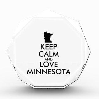 Customizable KEEP CALM and LOVE MINNESOTA Acrylic Award