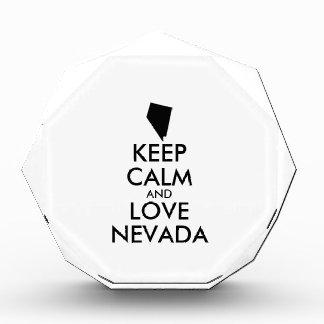 Customizable KEEP CALM and LOVE NEVADA Acrylic Award
