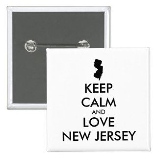 Customizable KEEP CALM and LOVE NEW JERSEY Pinback Button