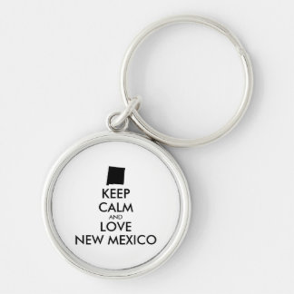 Customizable KEEP CALM and LOVE NEW MEXICO Keychain