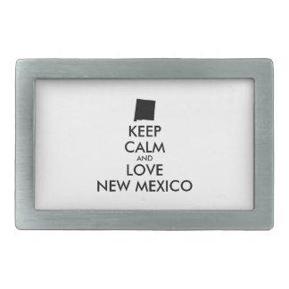 Customizable KEEP CALM and LOVE NEW MEXICO Rectangular Belt Buckle