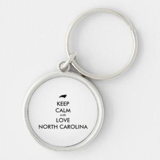 Customizable KEEP CALM and LOVE NORTH CAROLINA Keychain