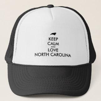 Customizable KEEP CALM and LOVE NORTH CAROLINA Trucker Hat