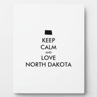 Customizable KEEP CALM and LOVE NORTH DAKOTA Plaque