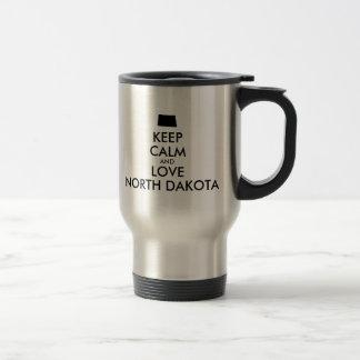 Customizable KEEP CALM and LOVE NORTH DAKOTA Travel Mug