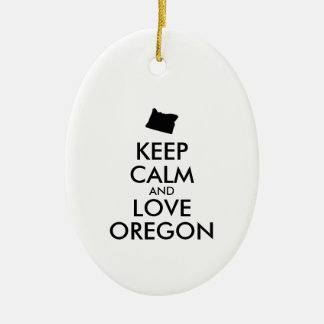 Customizable KEEP CALM and LOVE OREGON Ceramic Ornament