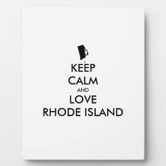 Customizable KEEP CALM and LOVE RHODE ISLAND Plaque