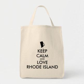 Customizable KEEP CALM and LOVE RHODE ISLAND Tote Bag