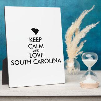 Customizable KEEP CALM and LOVE SOUTH CAROLINA Plaque