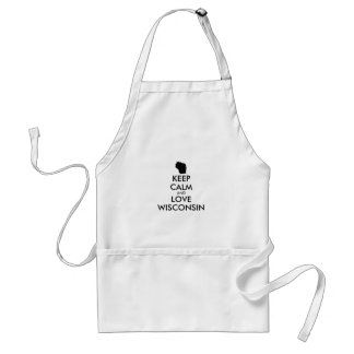 Customizable KEEP CALM and LOVE WISCONSIN Adult Apron