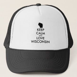 Customizable KEEP CALM and LOVE WISCONSIN Trucker Hat