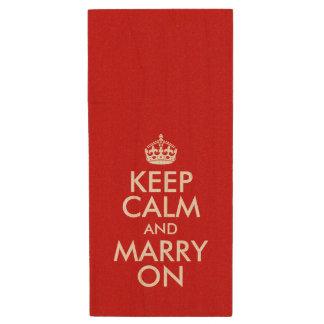 Customizable Keep Calm and Marry On Wood USB Flash Drive