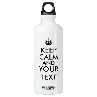 Customizable Keep Calm Design Maker Aluminum Water Bottle