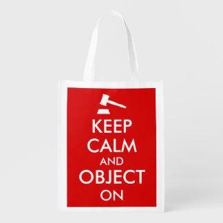 Customizable Keep Calm Lawyer Gift Object On Gavel Reusable Grocery Bag