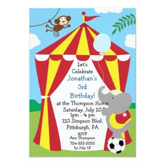 Customizable Kids Circus Birthday Party 5x7 Paper Invitation Card