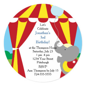 Customizable Kids Circus Birthday Party 5.25x5.25 Square Paper Invitation Card