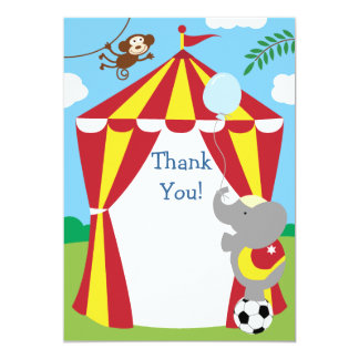 Customizable Kids Circus Thank You 5x7 Paper Invitation Card